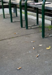 Cigarette butts at a Petaluma City bus stop