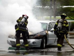 Car on fire in Petaluma