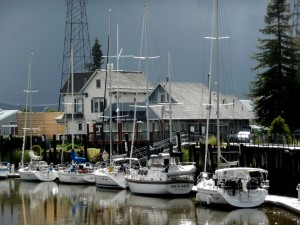 Yachts on Petaluma River Turning Basin