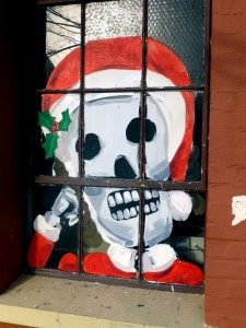 Skeleton dressed as Santa in Petaluma