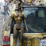 Petaluma streets - Volvo station wagon decorated with doll heads