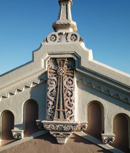 Detail: St Vincent's church. Petaluma